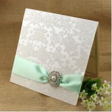 Flocked Invitation Card Foiling Wedding Card Customized Half Fold Invitation