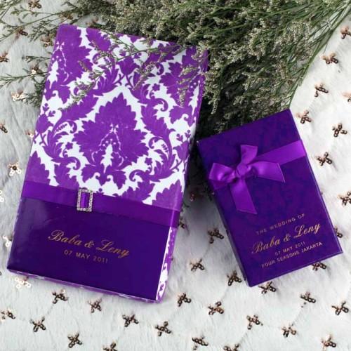 Purple Flocking Invitation Card with Box Wedding Invitation Card Customized