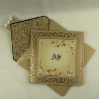 Gold Invitation Card Wedding Invitation Customized Square Card Half Fold