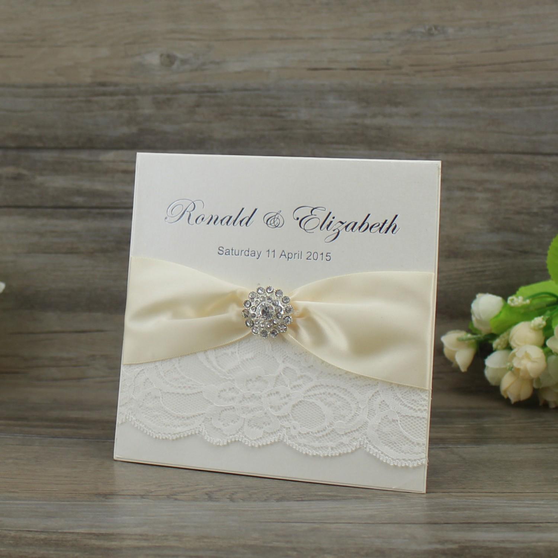 Ivory Invitation Card Half Fold Lace Invitation Foil Printing