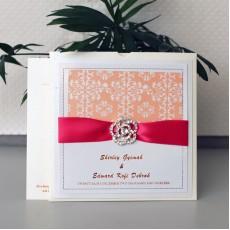 Flocking Pocket Invitation with Buckle Decoration  Wedding Card Customized