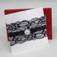 Black Lace Invitation Card Blank Card Printing Customized Wedding Card