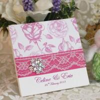 Pink Rose Wedding Invitation Card Lace Card Romantic Invitation Customized