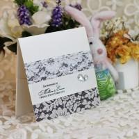Lace Decoration Wedding Invitation Card Half Fold Invitation Printing Customized