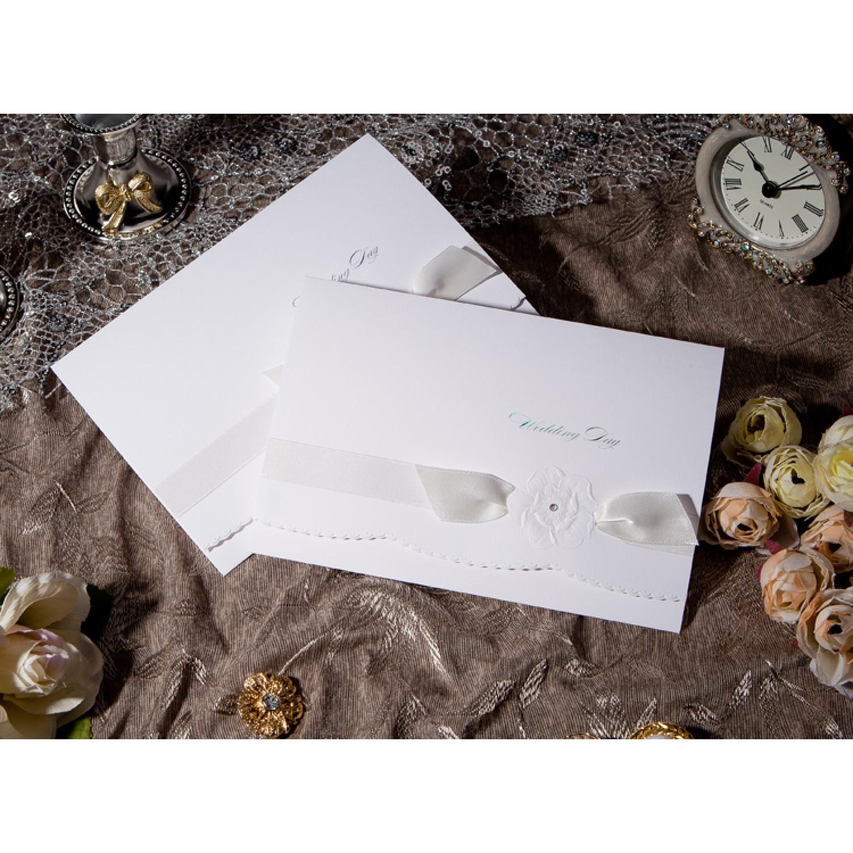 Elegant Invitation Card White Wedding Invitation Wave Card Customized