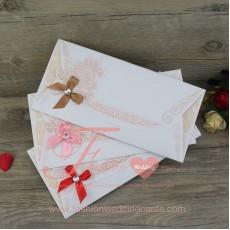 Floral Flocked Wedding Invitation Cards
