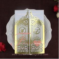 Luxury Metallic Gold Gate Laser Cut Wedding Invitations